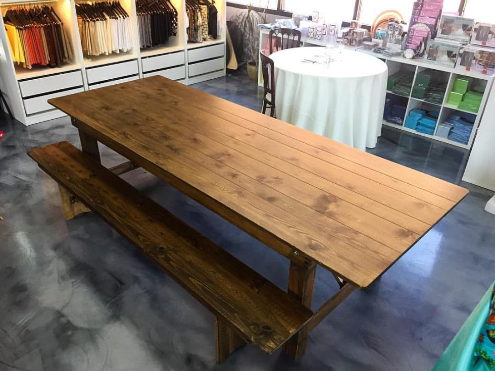 Butler Rents - 9 ft Farm Table Does not include bench Rentals